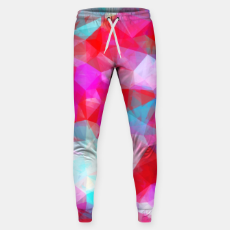 Thumbnail image of geometric triangle pattern abstract background in pink red blue Sweatpants, Live Heroes