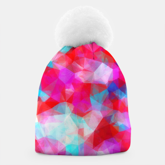 Thumbnail image of geometric triangle pattern abstract background in pink red blue Beanie, Live Heroes