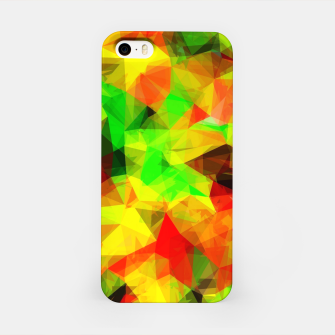 Thumbnail image of geometric triangle pattern abstract background in yellow green red iPhone Case, Live Heroes
