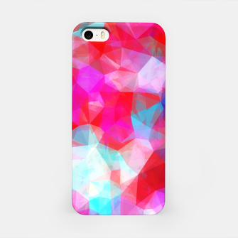 Thumbnail image of geometric triangle pattern abstract background in pink red blue iPhone Case, Live Heroes
