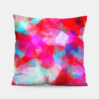Thumbnail image of geometric triangle pattern abstract background in pink red blue Pillow, Live Heroes