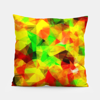 Thumbnail image of geometric triangle pattern abstract background in yellow green red Pillow, Live Heroes