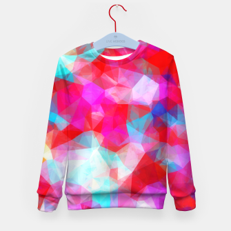 Thumbnail image of geometric triangle pattern abstract background in pink red blue Kid's sweater, Live Heroes
