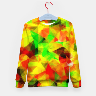 Thumbnail image of geometric triangle pattern abstract background in yellow green red Kid's sweater, Live Heroes