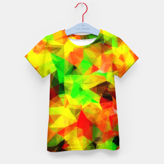 Thumbnail image of geometric triangle pattern abstract background in yellow green red Kid's t-shirt, Live Heroes