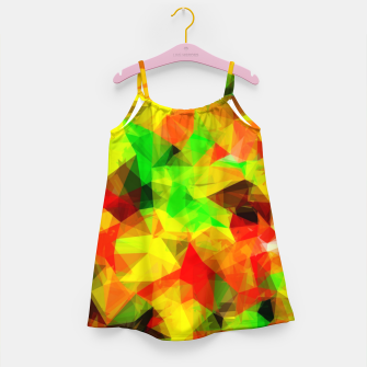 Thumbnail image of geometric triangle pattern abstract background in yellow green red Girl's dress, Live Heroes