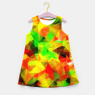 Thumbnail image of geometric triangle pattern abstract background in yellow green red Girl's summer dress, Live Heroes