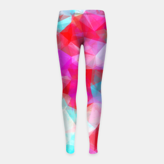 Thumbnail image of geometric triangle pattern abstract background in pink red blue Girl's leggings, Live Heroes