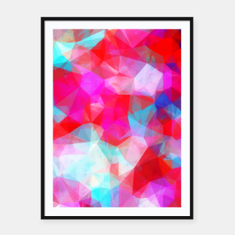 Thumbnail image of geometric triangle pattern abstract background in pink red blue Framed poster, Live Heroes