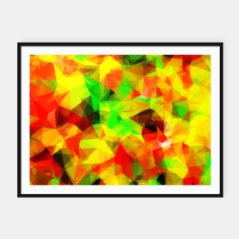 Thumbnail image of geometric triangle pattern abstract background in yellow green red Framed poster, Live Heroes