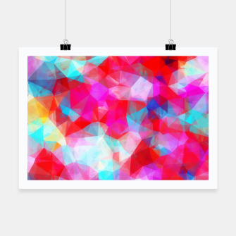 Thumbnail image of geometric triangle pattern abstract background in pink red blue Poster, Live Heroes