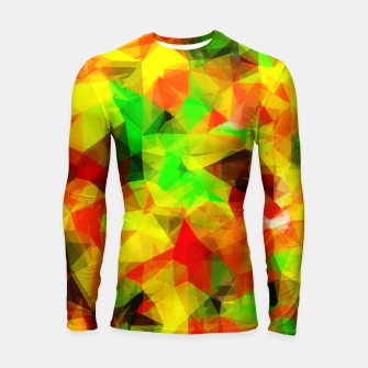 Thumbnail image of geometric triangle pattern abstract background in yellow green red Longsleeve rashguard , Live Heroes