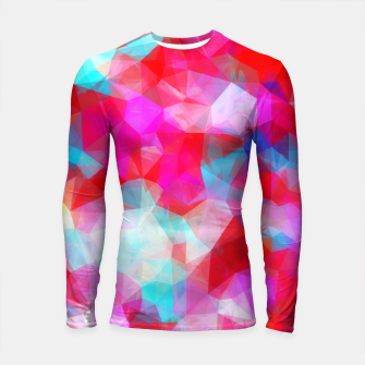 Thumbnail image of geometric triangle pattern abstract background in pink red blue Longsleeve rashguard , Live Heroes