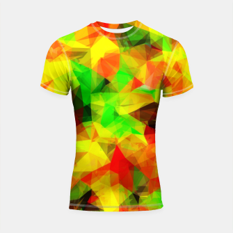 Thumbnail image of geometric triangle pattern abstract background in yellow green red Shortsleeve rashguard, Live Heroes