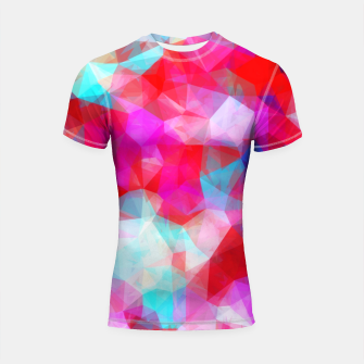Thumbnail image of geometric triangle pattern abstract background in pink red blue Shortsleeve rashguard, Live Heroes