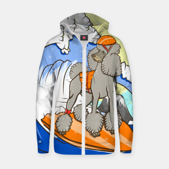 Dog on a surfboard Zip up hoodie thumbnail image