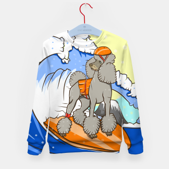 Imagen en miniatura de Dog on a surfboard Kid's sweater, Live Heroes