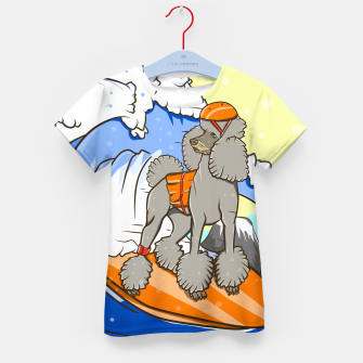 Imagen en miniatura de Dog on a surfboard Kid's t-shirt, Live Heroes