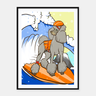 Miniatur Dog on a surfboard Framed poster, Live Heroes
