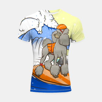 Miniatur Dog on a surfboard Shortsleeve rashguard, Live Heroes