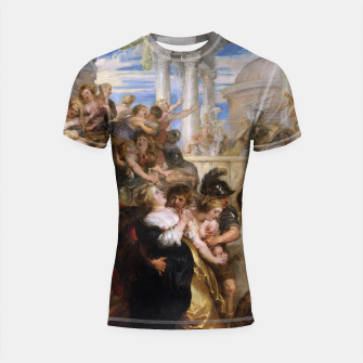 The Rape of the Sabine Women by Peter Paul Rubens Shortsleeve rashguard obraz miniatury