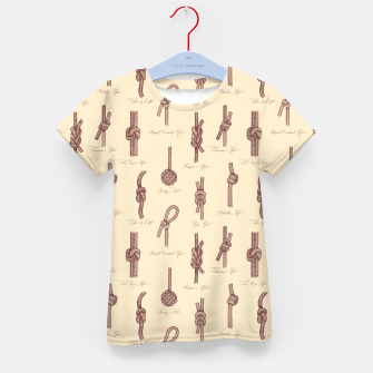 Thumbnail image of Nautical Knots Pattern (Beige and Sepia) Kid's t-shirt, Live Heroes