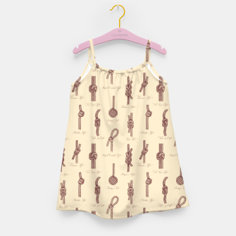 Thumbnail image of Nautical Knots Pattern (Beige and Sepia) Girl's dress, Live Heroes