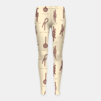 Thumbnail image of Nautical Knots Pattern (Beige and Sepia) Girl's leggings, Live Heroes