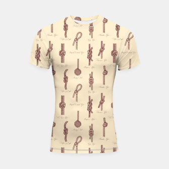 Thumbnail image of Nautical Knots Pattern (Beige and Sepia) Shortsleeve rashguard, Live Heroes