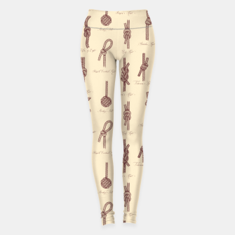 Thumbnail image of Nautical Knots Pattern (Beige and Sepia) Leggings, Live Heroes