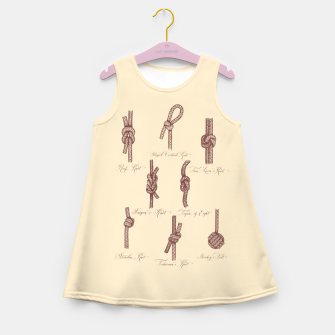 Thumbnail image of Nautical Knots (Beige and Sepia) Girl's summer dress, Live Heroes