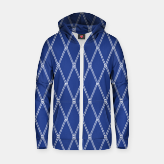 Thumbnail image of Nautical Fishing Net (Navy and White) Zip up hoodie, Live Heroes