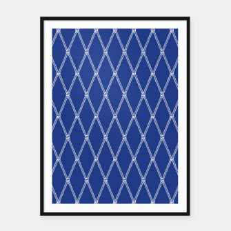 Thumbnail image of Nautical Fishing Net (Navy and White) Framed poster, Live Heroes