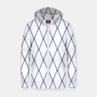Thumbnail image of Nautical Fishing Net (White and Navy) Zip up hoodie, Live Heroes