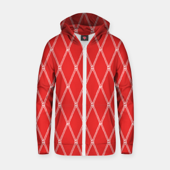 Thumbnail image of Nautical Fishing Net (Red and White) Zip up hoodie, Live Heroes