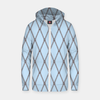 Thumbnail image of Nautical Fishing Net (Light Blue and Brown) Zip up hoodie, Live Heroes