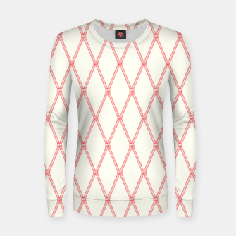 Thumbnail image of Nautical Fishing Net (Beige and Coral) Women sweater, Live Heroes