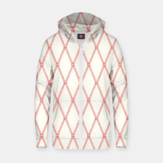 Thumbnail image of Nautical Fishing Net (Beige and Coral) Zip up hoodie, Live Heroes