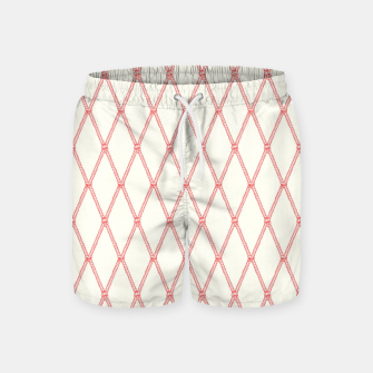 Thumbnail image of Nautical Fishing Net (Beige and Coral) Swim Shorts, Live Heroes