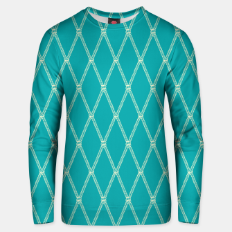 Thumbnail image of Nautical Fishing Net (Teal and Beige) Unisex sweater, Live Heroes