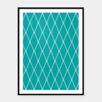 Thumbnail image of Nautical Fishing Net (Teal and Beige) Framed poster, Live Heroes