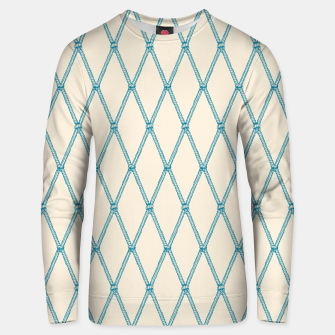 Thumbnail image of Nautical Fishing Net (Beige and Teal) Unisex sweater, Live Heroes