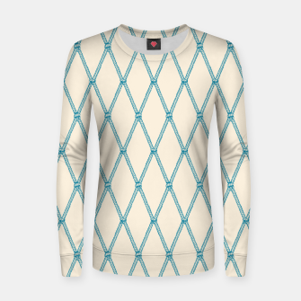 Thumbnail image of Nautical Fishing Net (Beige and Teal) Women sweater, Live Heroes
