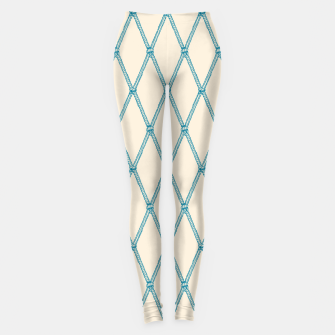 Thumbnail image of Nautical Fishing Net (Beige and Teal) Leggings, Live Heroes