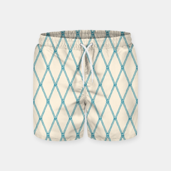 Thumbnail image of Nautical Fishing Net (Beige and Teal) Swim Shorts, Live Heroes