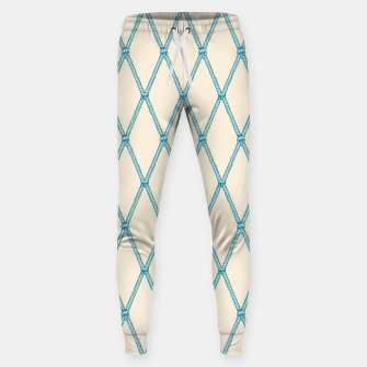 Thumbnail image of Nautical Fishing Net (Beige and Teal) Sweatpants, Live Heroes