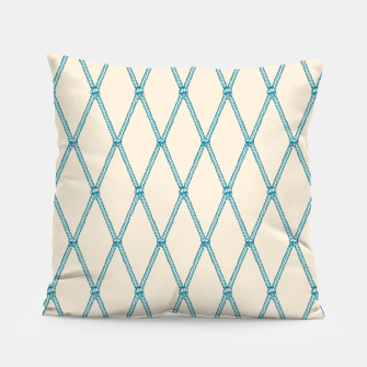 Thumbnail image of Nautical Fishing Net (Beige and Teal) Pillow, Live Heroes
