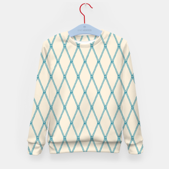 Thumbnail image of Nautical Fishing Net (Beige and Teal) Kid's sweater, Live Heroes