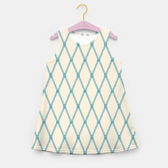 Thumbnail image of Nautical Fishing Net (Beige and Teal) Girl's summer dress, Live Heroes