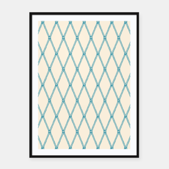 Thumbnail image of Nautical Fishing Net (Beige and Teal) Framed poster, Live Heroes